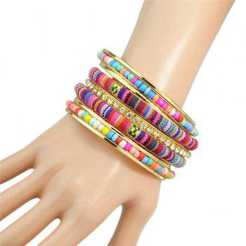 Retro Multilayer Rhinestone Bead Rope Bracelet