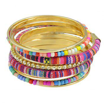 Retro Multilayer Rhinestone Bead Rope Bracelet - COLORMIX