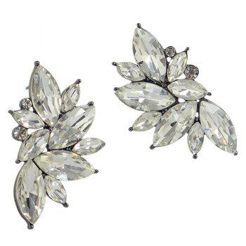 Pair of Retro Fake Crystal Leaf Earrings For Women - WHITE