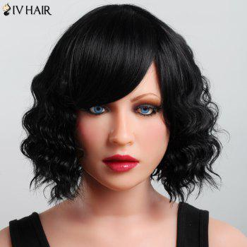 Fluffy Curly Short Haircut Human Hair Elegant Side Bang Capless Siv Hair Wig For Women