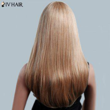Attractive Long Side Bang Siv Hair Natural Straight Capless Women's Human Hair Wig - LIGHT BLONDE /