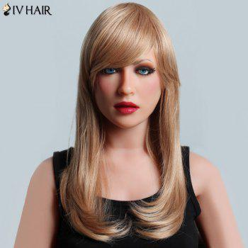 Attractive Long Side Bang Siv Hair Natural Straight Capless Women's Human Hair Wig
