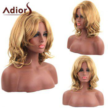 Fluffy Wavy Adiors Synthetic Ladylike Light Blonde Mixed Medium Capless Wig For Women