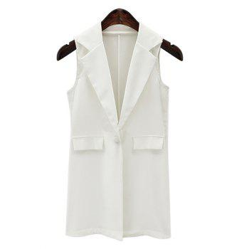 Fashionable Lapel Collar Loose-Fitted One Button Women's Long Waistcoat - WHITE WHITE