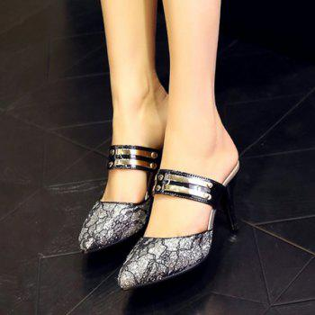 Stylish Sequins and Pointed Toe Design Women's Slippers - 39 39