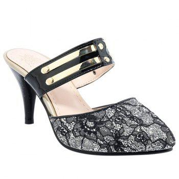 Stylish Sequins and Pointed Toe Design Women's Slippers - BLACK BLACK
