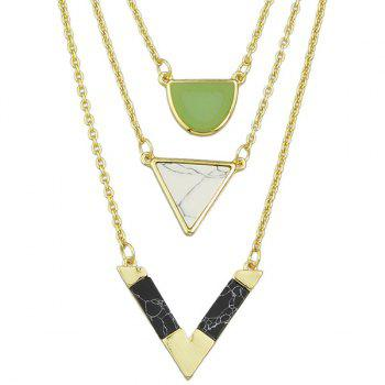 Triangle Multilayered Chains Necklace - GOLDEN