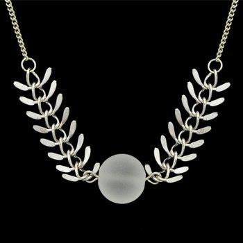 Leaf Ball Pendant Necklace - SILVER