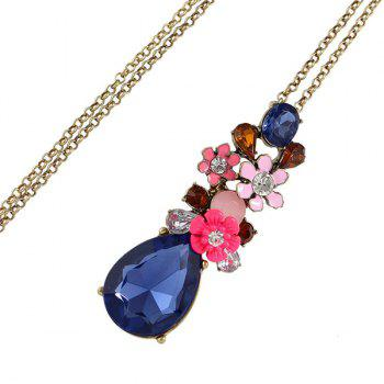 Chic Rhinestone Water Drop Flower Sweater Chain For Women - BLUE