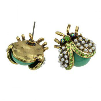 Fake Pearl Insect Earrings - GREEN