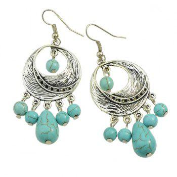 Pair of Faux Turquoise Moon Earrings - SILVER