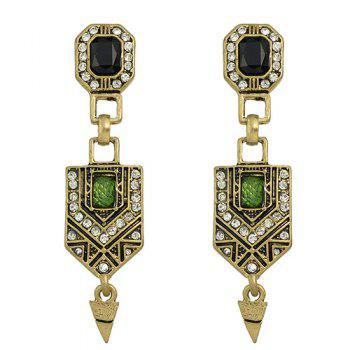 Pair of Rhinestone Geometry Pendant Earrings