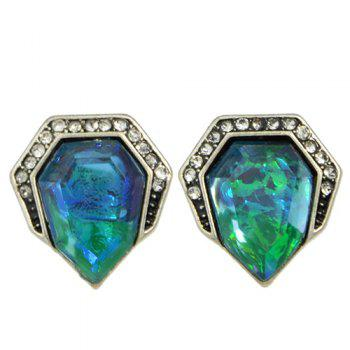 Pair of Rhinestone Resin Embellished Geometry Earrings