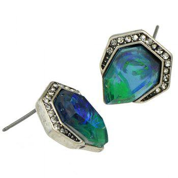 Pair of Rhinestone Resin Embellished Geometry Earrings - GREEN