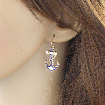 Pair of Anchor Drop Earrings - GOLDEN
