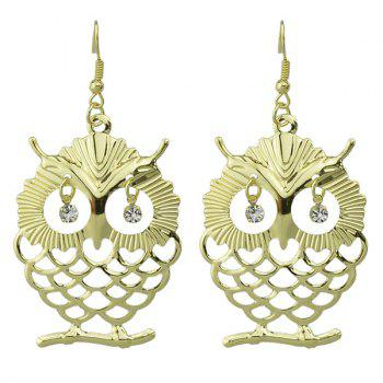Pair of Rhinestone Owl Hollow Out Drop Earrings