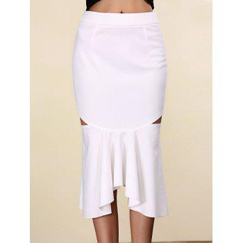 Trendy Pure Color Mermaid Cut Out Skirt For Women