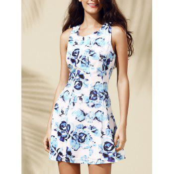 Casual Floral Print Sleeveless Round Collar Dress For Women