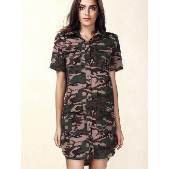 Stylish Short Sleeve Single-Breasted Women's Camo Dress