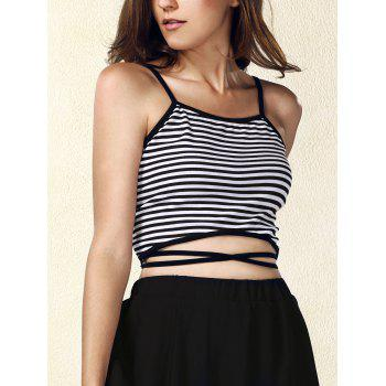 Trendy Women's Spaghetti Strap Striped Crop Top