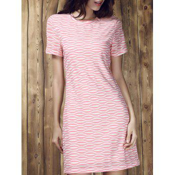 Stripe Round Collar Short Sleeve Dress