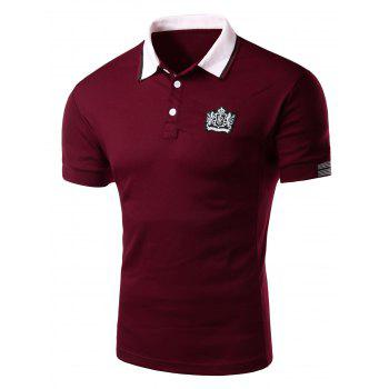 Applique Stripe Trim Slimming Polo T-Shirt
