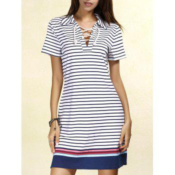 Preppy Style Colorful Striped Lace-Up Short Sleeve Dress For Women