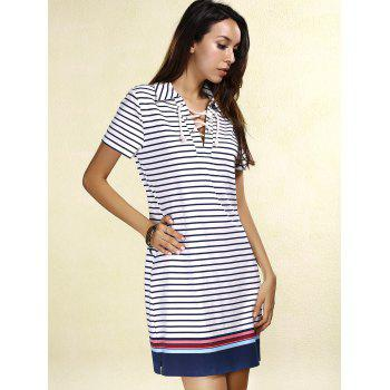 Preppy Style Colorful Striped Lace-Up Short Sleeve Dress For Women - STRIPE L