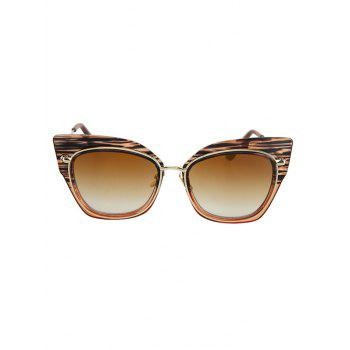 Chic Striped Cat Eye Frame Sunglasses For Women - TEA COLORED