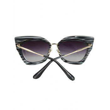 Chic Striped Cat Eye Frame Sunglasses For Women -  BLACK