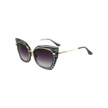 Chic Striped Cat Eye Frame Sunglasses For Women - BLACK BLACK