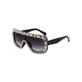 Chic Rhinestone Black Shield Sunglasses For Women