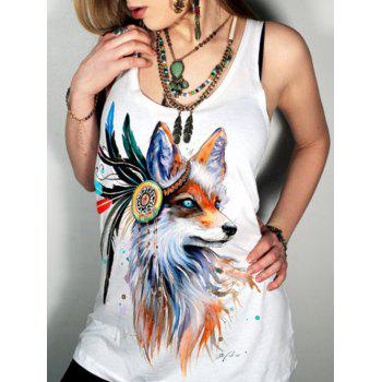 Buy Simple Style Scoop Neck Animal Pattern Tank Top Women WHITE