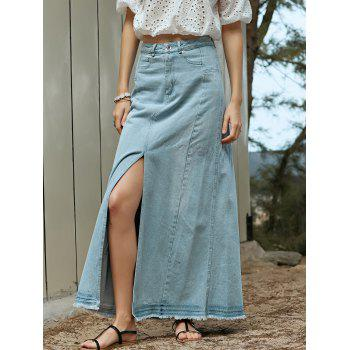 Stylish High Waisted Denim Slit Women's Skirt