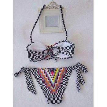 Alluring Women's Halter Colored Geometry Print Bikini Set - COLORMIX M