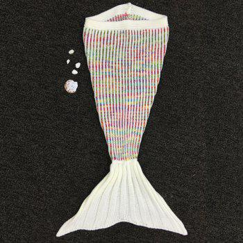 Knitted Fish Tail Sleeping Bag Mermaid Design Blanket For Kids - COLORFUL COLORFUL
