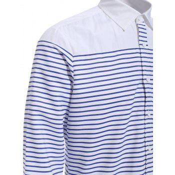 Refreshing Turn-down Collar Color Block Long Sleeves Men's Striped Shirt - STRIPE 2XL