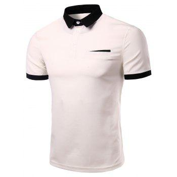 Men's Fashion Turn-down Collar Solid Color Short Sleeves Polo T-Shirt - WHITE WHITE