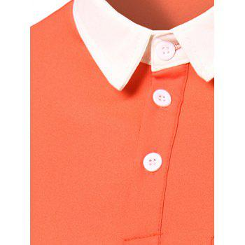 Men's Fashion Turn-down Collar Solid Color Short Sleeves Polo T-Shirt - PINK 2XL