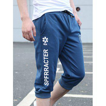 Casual Loose Fit Lace Up Solid Color Men's Shorts - BLUE 2XL