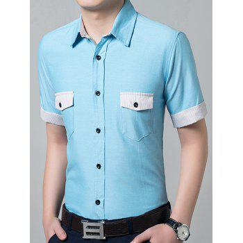 Casual Solid Color Short Sleeves Men's Shirts - AZURE L