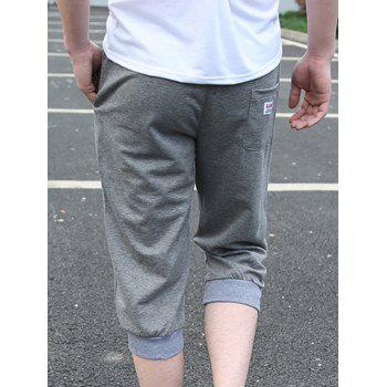 Casual Loose Fit Lace Up Solid Color Men's Shorts - GRAY 2XL