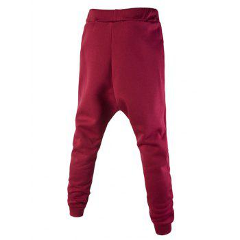 Casual Lace-Up Personality Letters Print Solid Color Men's Jogger Pants - RED 2XL