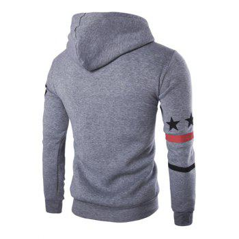 Fashion Hooded Letters Star Stripes Print Men's Long Sleeves Hoodie - LIGHT GRAY XL