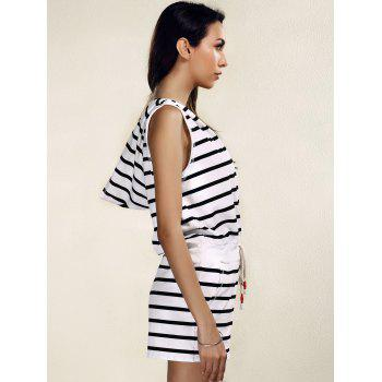 Stylish Women's Striped Hooded Cover-Up Romper - BLACK S