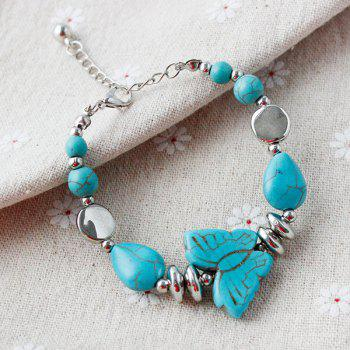 Ethnic Faux Turquoise Butterfly Bead Bracelet For Women - SILVER