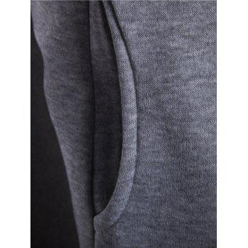 Inclined Zipper Color Block Hooded Long Sleeves Men's Hoodie - LIGHT GRAY XL