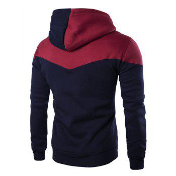 IZZUMI Classic Color Block Front Pocket Hooded Long Sleeves Men's Hoodie - CADETBLUE L