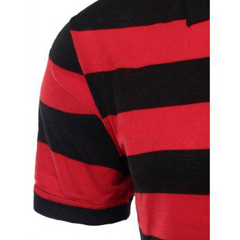 Men's Stripes Turn-down Collar Short Sleeves Polo T-Shirt - RED 3XL