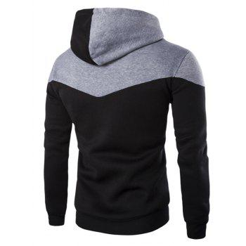 IZZUMI Classic Color Block Front Pocket Hooded Long Sleeves Men's Hoodie - BLACK XL